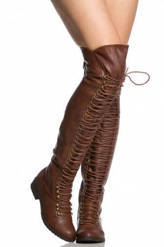 45580fc9f70 Brown Faux Leather Thigh High Combat Boots @ Cicihot Boots Catalog:women's  winter boots,leather thigh high boots,black platform knee high boots,over  ...