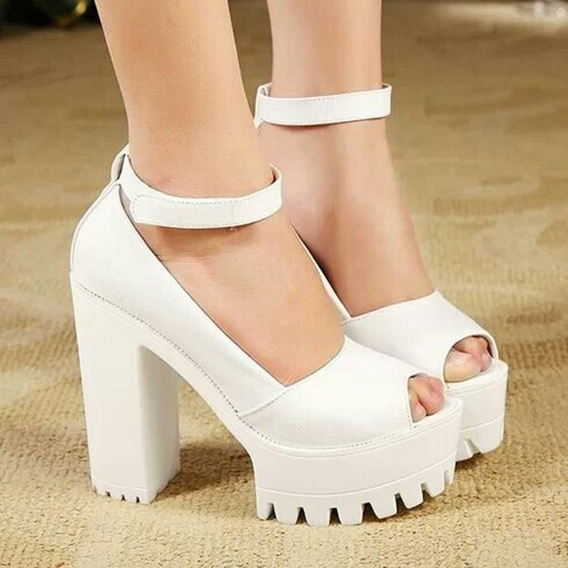Sexy Hidden Pump Thick Platform Chunky Open Toe Sandals High Heel ...