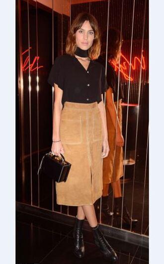 skirt midi skirt alexa chung fashion week 2015 blouse