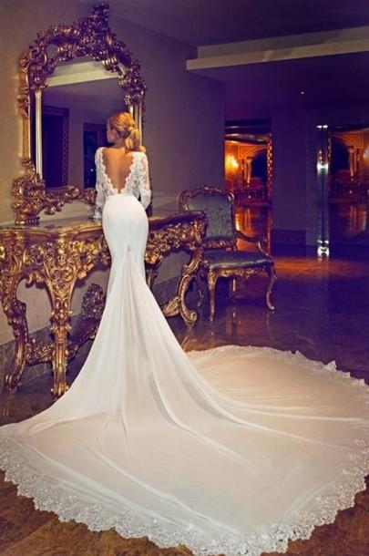 dress, white lace wedding dress, open back, wedding dress, white ...