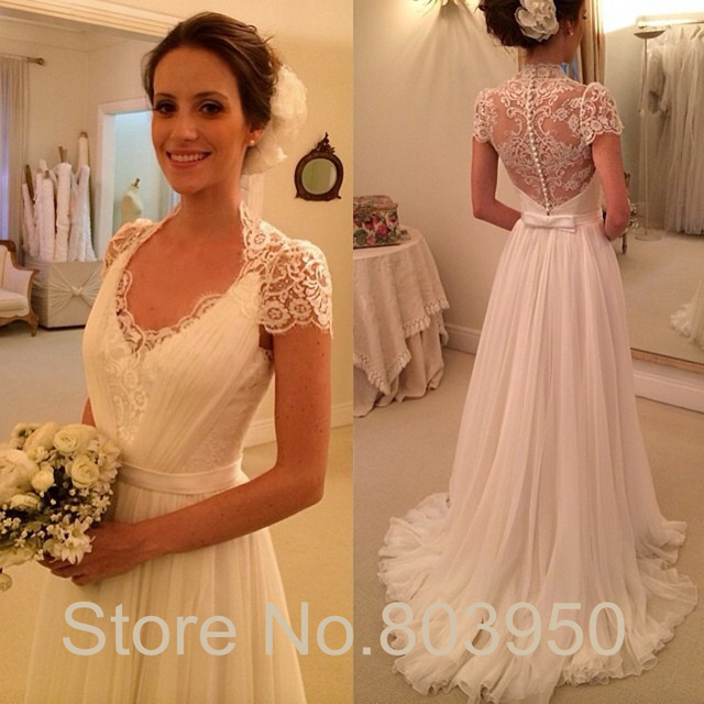 Aliexpress Buy Boho Wedding Dress Lace Covered Back Cap Sleeve