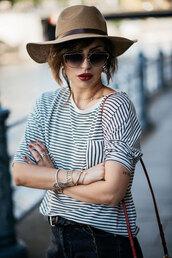 t-shirt,tumblr,stripes,striped t-shirt,felt hat,hat,bracelets,stacked bracelets,stacked jewelry,jewels,jewelry,accessories,Accessory