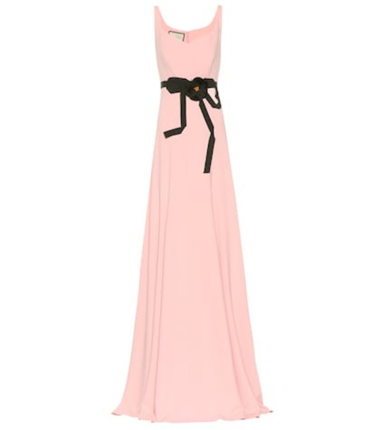 Gucci Floral-embellished jersey gown in pink