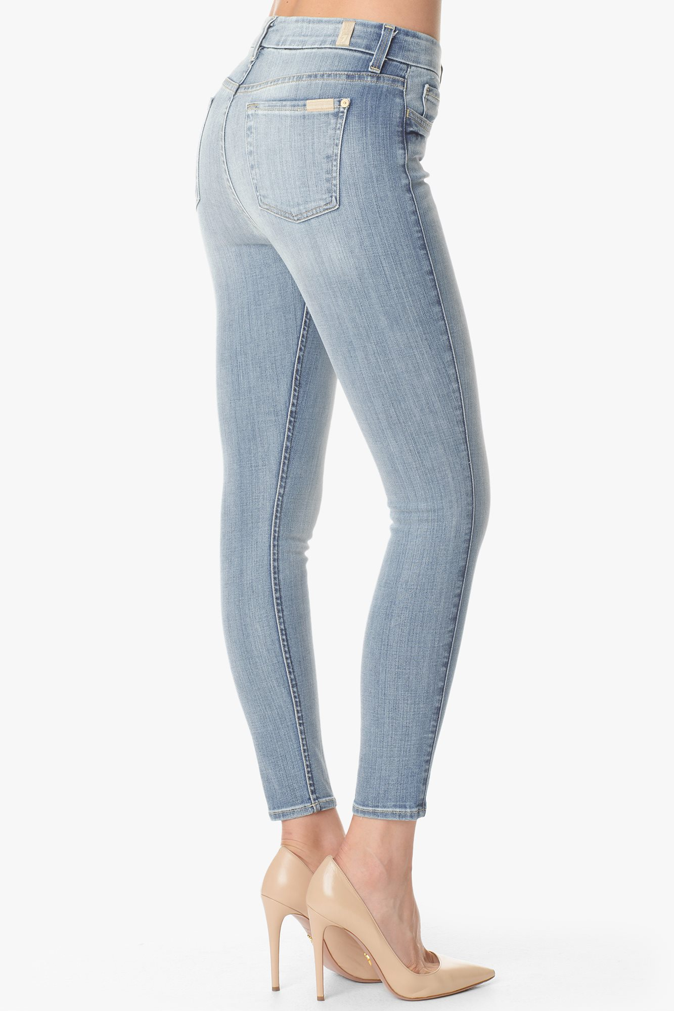 "The slim illusion high waist ankle skinny in faded blue (28"" inseam)"