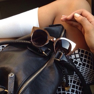 sunglasses gold bag metal white socks skirt glasses silver black faux leather leather vintage black round sunglasses ring nail polish dress back girl cat eye round metallic metallic glasses