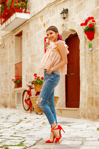 top peach top lace top peach denim jeans blue jeans ripped jeans shoes heels red heels