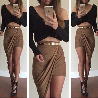 skirt long sleeve crop top skirt with belt twisted front skirt asymmetrical skirt stretch fabric khaki draped