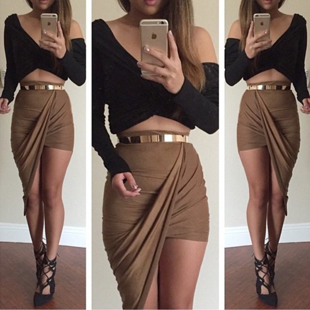 skirt long sleeve crop top skirt with belt twisted front skirt asymmetrical skirt stretch fabric khaki draped
