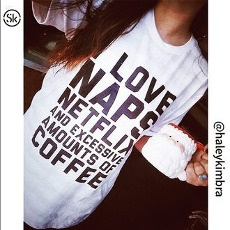 t-shirt naps netflix coffee food sleepy skreened