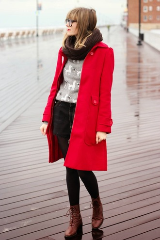 steffy's pros and cons blogger red coat grey sweater