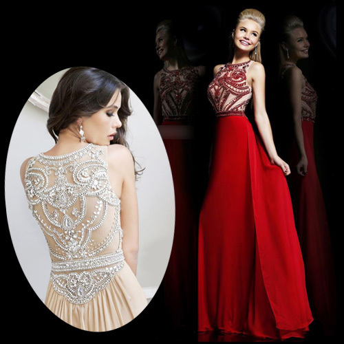 Aliexpress.com : buy new arrival sexy vestidos de fiesta heavy crystal hand made beading see through back red long prom dresses 2014 from reliable dresses of indian people suppliers on suzhou dreamybridal co.,ltd