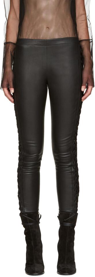 lace leather black black leather pants