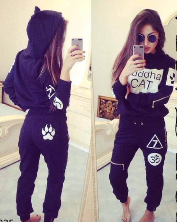 urban buddha cats cat ears tumblr tumblr outfit sportswear cool black tracksuit fall. Black Bedroom Furniture Sets. Home Design Ideas