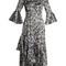 Florence fluted-cuff silk-satin dress