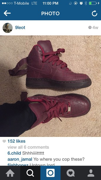 shoes burgundy air force oness high top nike air force 1 nike