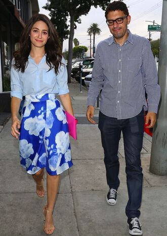 skirt emmy rossum sandals clutch blouse bag shoes