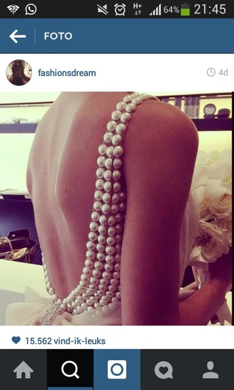 dress pearls dress backless dress backless prom dress prom dress wedding dress
