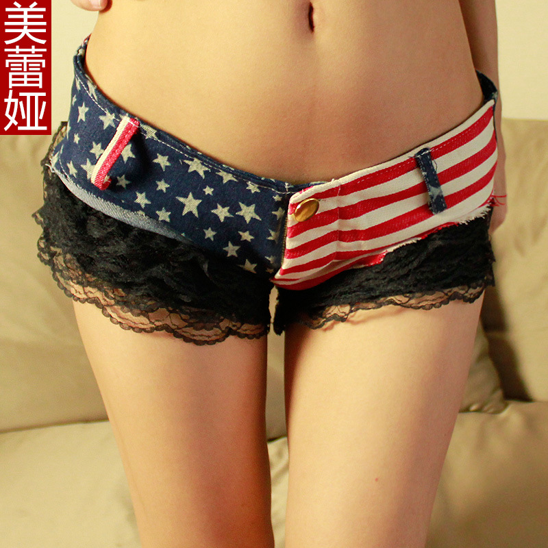 Aliexpress.com : Buy Super sexy low waist shorts lace patchwork american flag small denim shorts female from Reliable flag sweatshirt suppliers on Dora Sweet Shop.