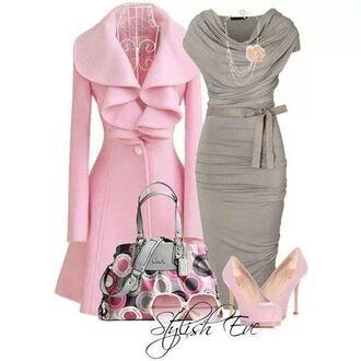 dress grey dress coat pink ruffles cowelneck dress form fitting tea length grey bow sexy midi dress fashion