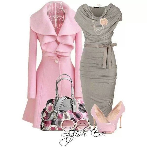 dress grey dress gray dress coat pink ruffles cowelneck dress form fitting tea length