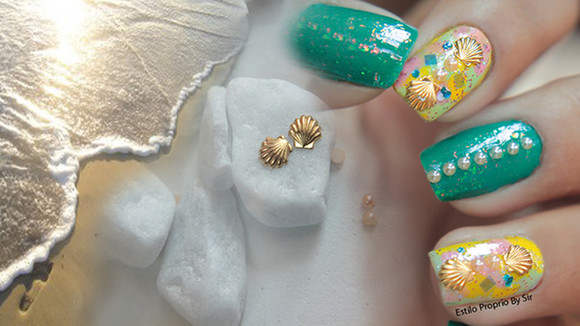 nail polish nails nail art nail accessories nails art nails polish mermaid ocean ocean drive shells shell bra