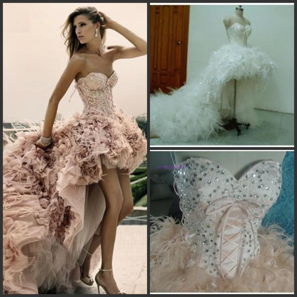 Wholesale Cheap Chiffon Prom Dress - Buy 2014 Zuhair Murad Hi-lo Evening Dresses Feather Lace Up Corset HandmadeFormal Prom Party Gown Cheap Real Image Custom Made $193.72 | DHgate