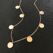 jewels,coin drop neckace,disc necklace,mackenzie's necklace,emily mortimer necklace,classicdesigns on etsy,theresa mink,jewelry,necklace,the newsroom,disc drop necklace,circle necklace,looks for less,coin necklace