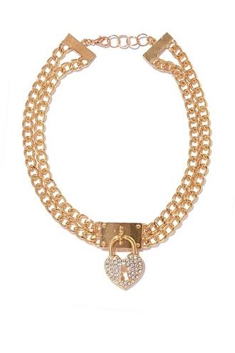jewels golden gold silver lock chain heart