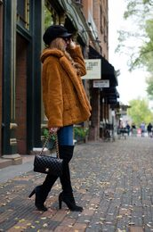 coat,hat,tumblr,fuzzy coat,mustard,denim,jeans,blue jeans,boots,black boots,over the knee,bag,fisherman cap