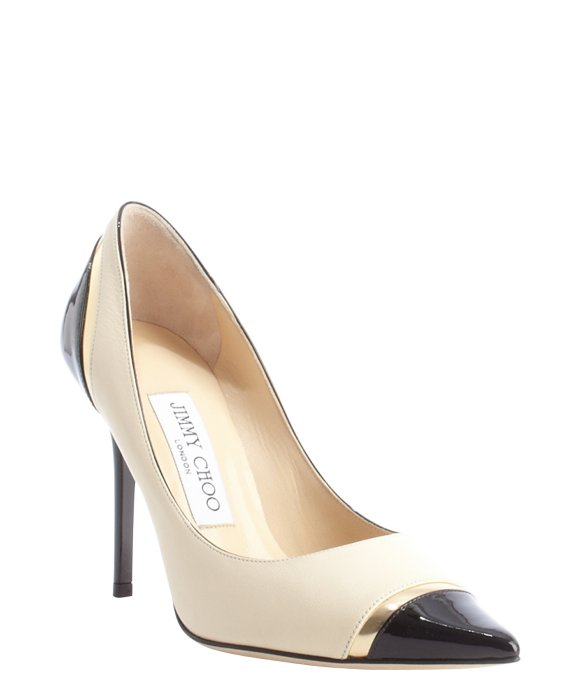 Jimmy Choo bone and black leather pointed toe 'Lumina' pumps | BLUEFLY up to 70% off designer brands