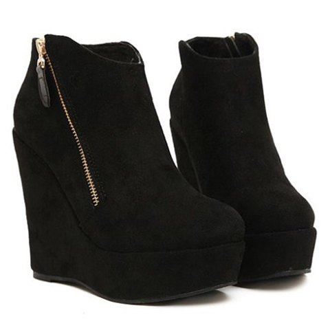 Fashion women's short boots with zip and wedge design