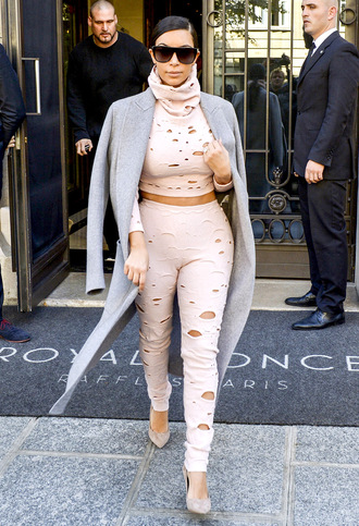 leggings nude kim kardashian coat trench coat blouse top