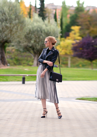 oh my vogue blogger jacket bag sunglasses pleated skirt perfecto black heels shoes
