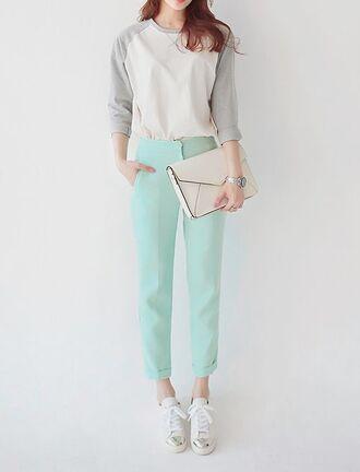 pants kawaii cute pastel mint pastel pants