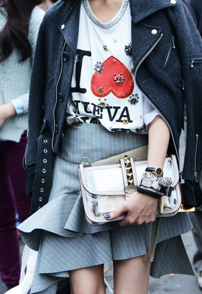 shirt skirt t-shirt leather jacket