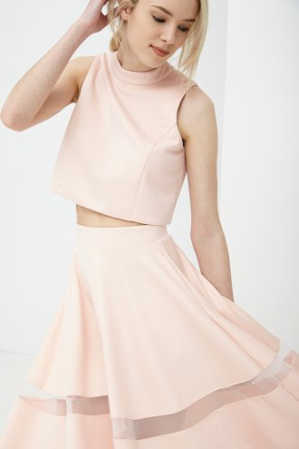 Peach Split Back Crop Top -  from Lavish Alice UK