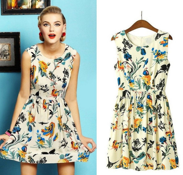 760d8b8b21 dress birds floral chic trendy mini short strapless 2014 beach spring summer  casual skater fit and