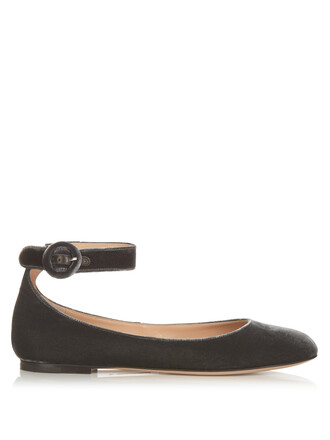 flats velvet grey shoes