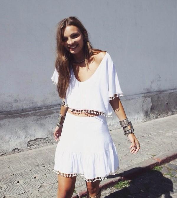 blouse shirt t-shirt skirt indie boho boho look boho outfit boho top boho top boho shirt white top white shirt white vintage coachella summer boho
