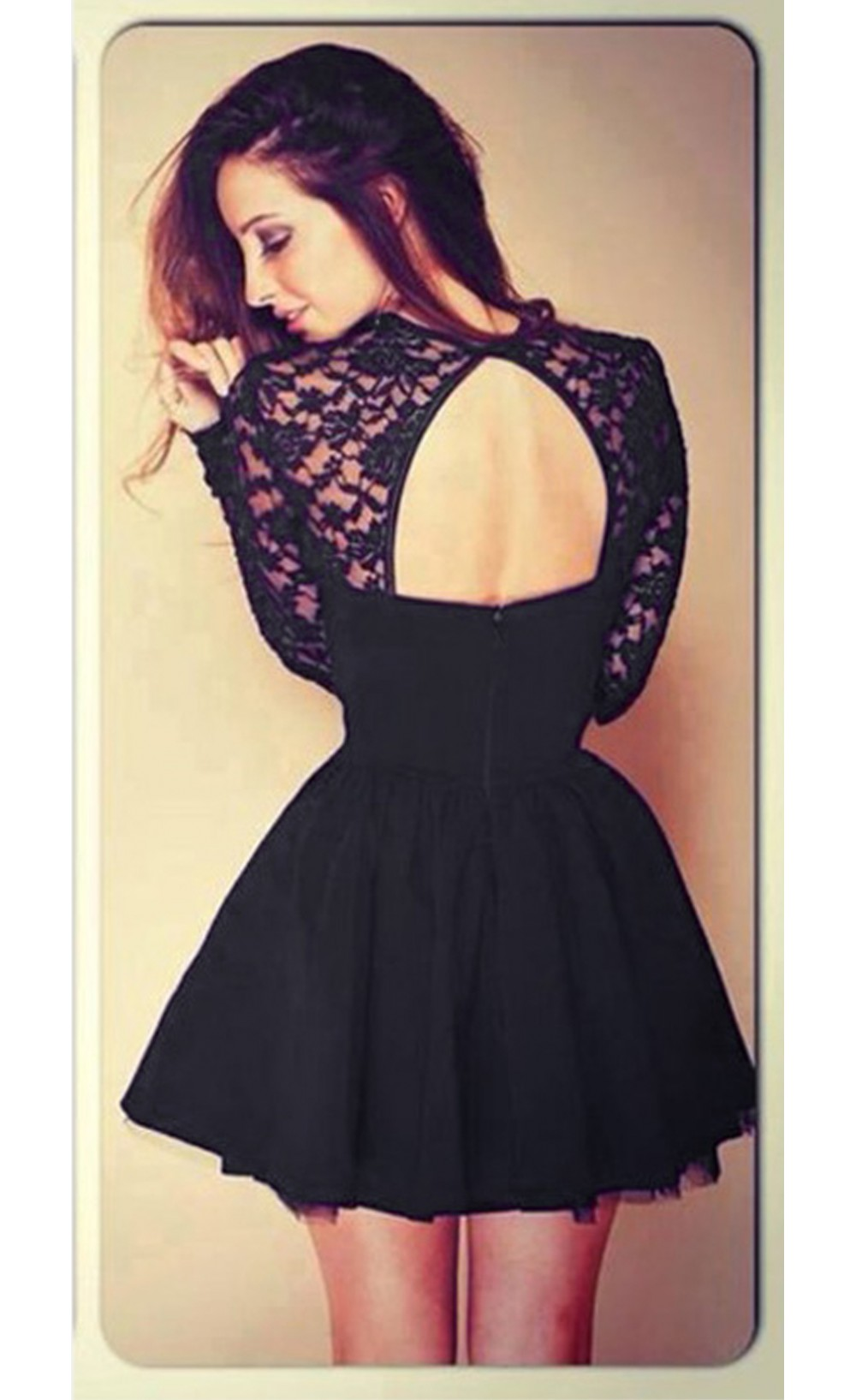 Sexy backless hollow out lace spliced long sleeve skater dress