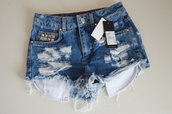shorts,jeans,ripped shorts,studs,cutoff light denim frayed high waisted studded shorts summer,High waisted shorts,denim,denim shorts,distressed denim shorts,studded,jeans shorts #summer #cool #want