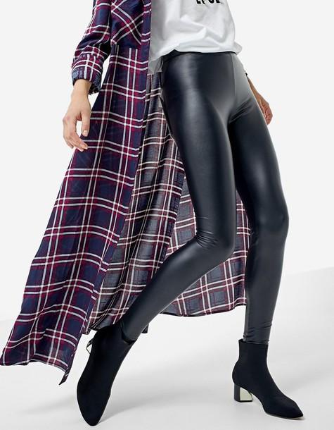 Stradivarius leather black pants