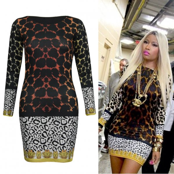 LADIES NICKI MINAJ CELEBRITY LEOPARD PRINT WOMENS BODYCON SHORT MINI PARTY DRESS | eBay