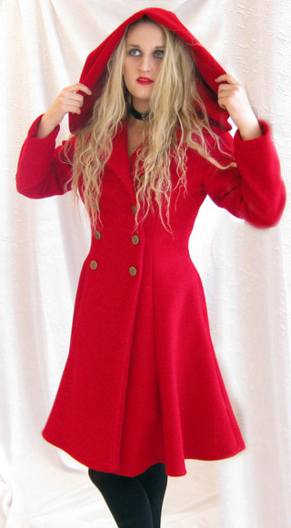 blonde girl red coat hood