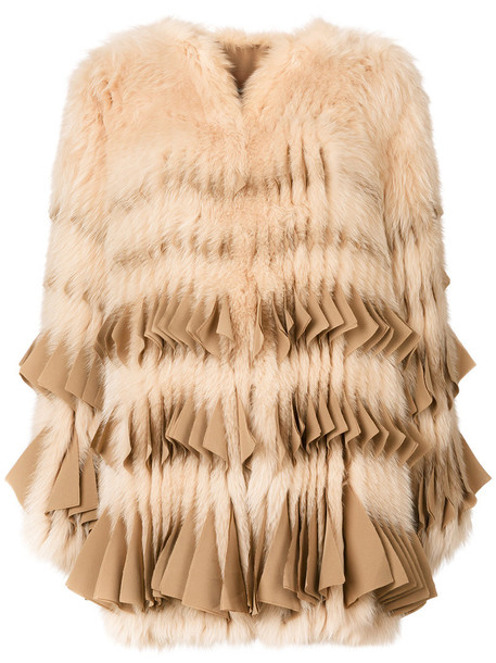 Givenchy coat fur coat fur fox women nude silk