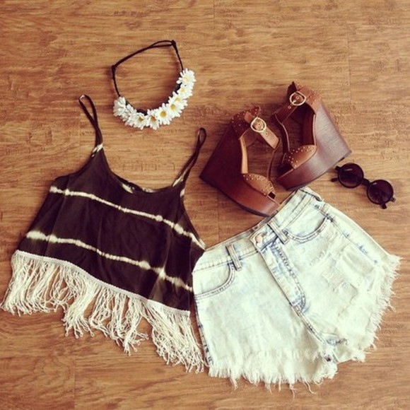tye dye crop tops blouse hippie tank top festival fringe shorts top flowers shoes sunglasses hat jeans bag