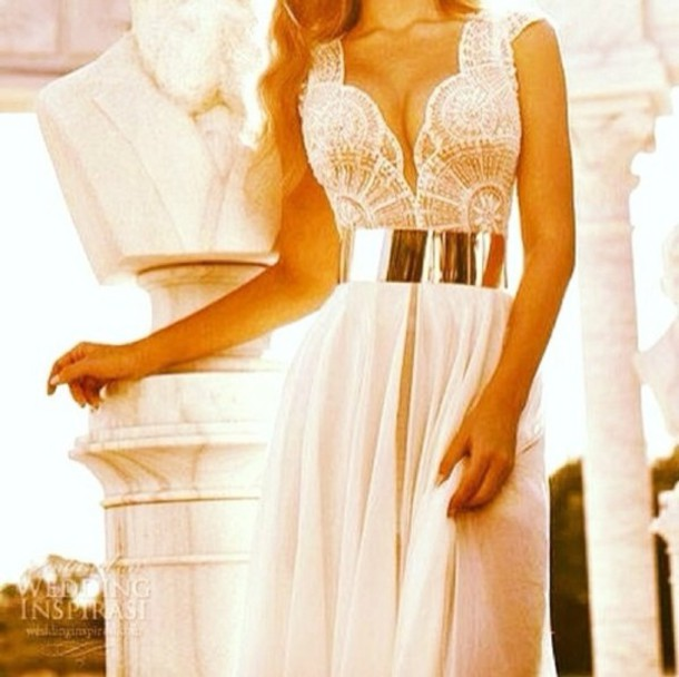 White lace dress gold belt prom