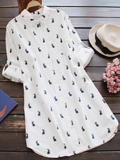 dress,rabbit print,long sleeves,shift dress,shirt dress,white,zaful,Poppoly