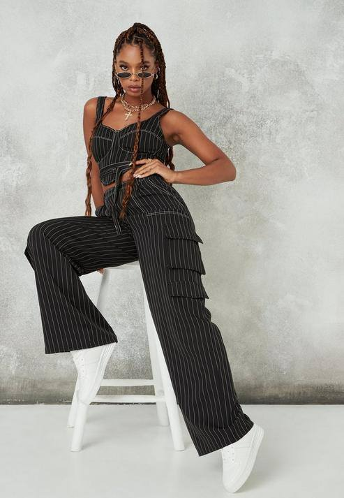 Black Pinstripe Wide Leg Cargo Trousers