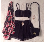 black,crop tops,cardigan,swearshit,sweater,floral tank top,jewels,t-shirt,shirt,style,clothes,fashion,vintage,cute dress,cute,jacket,top,black lace shorts,lace shorts,boho,gypsy,festival shorts,festival,bralette,cut out top,tank top,blouse,black shorts,shorts,romper,black crop top,floral kimono,outfit